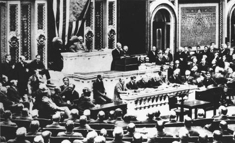 President Woodrow Wilson gave his Declaration of War speech before a joint session of Congress April 2, 1917. AP/WIDE WORLD PHOTOS. REPRODUCED BY PERMISSION.
