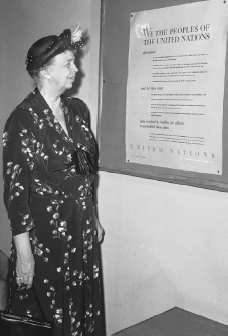 Eleanor Roosevelt reads the Universal Declaration of Human Rights on May 3, 1949, which was adopted the previous year by the United Nations. This document asserts that certain human freedoms and rights are possessed by every individual of every country in