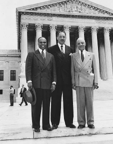 George Hayes (left), standing with Thurgood Marshall (center), and James M. Nabrit (right) after the Brown v. Board of Education Supreme Court decision. AP/WIDE WORLD PHOTOS. REPRODUCED BY PERMISSION