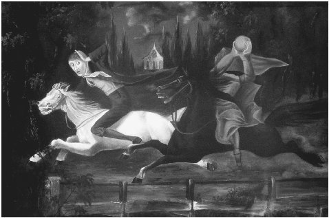 Crane and Horseman, c. 1835. Painting attributed to William John Wilgus. The Legend of Sleepy Hollow provided vivid material for visual artists, and its frequent reinterpretation in paintings and popular prints both reflected and promoted the t