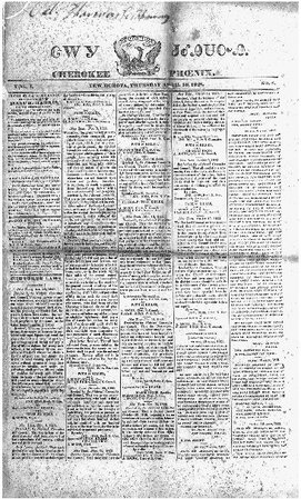 Cherokee Phoenix. The 10 April 1828 edition of the bilingual Cherokee newspaper. THE LIBRARY OF CONGRESS
