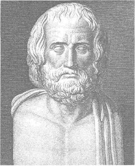 A bust of Euripides