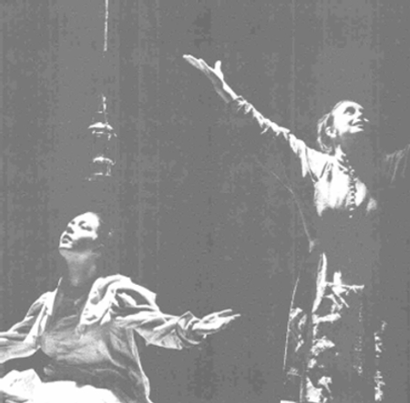 A scene from the 1984 Royal Shakespeare Company tour depicting Betty (Caroline Milmoe) and Abigail (Jenifer Landor)