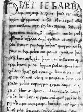 Manuscript page from Beowulf