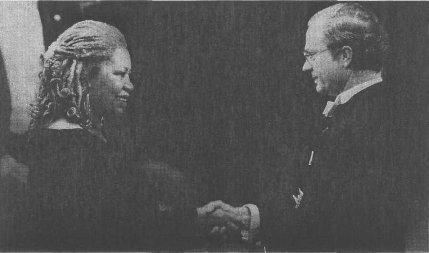 Toni Morrison accepting the Nobel Prize, 1993.