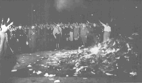A Nazi book-burning during the 1930s.