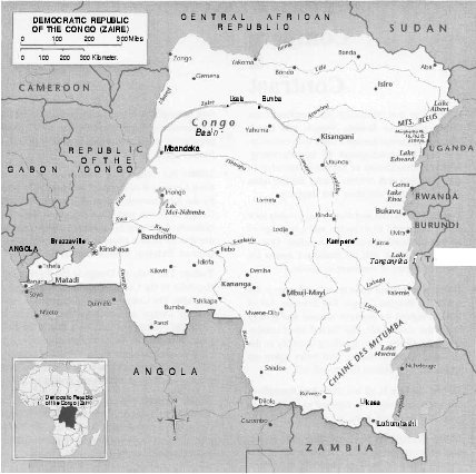 Map of the Democratic Republic of the Congo.