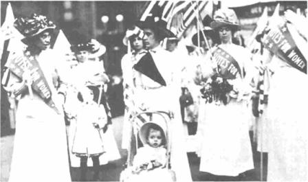 Suffragettes march for women