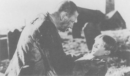 Still from the 1946 film Great Expectations, starring Anthony Wager (right) as Pip and Finlay Currie (left) as Magwitch.