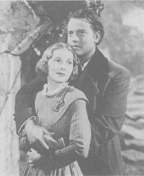 Still from the film Jane Eyre, starring Joan Fontaine as Jane Eyre and Orson Welles as Edward Rochester.