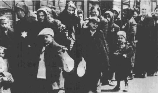 Jewish women and children en route to Auschwitz