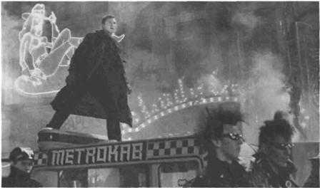 Harrison Ford atop a Metrocab in Blade Runner