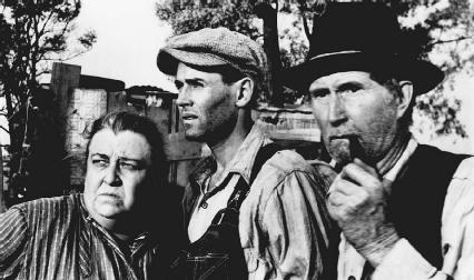 Jane Darwell, Henry Fonda, and John Carradine (left to right) in the 1940 film The Grapes of Wrath.