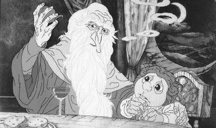 A scene from the animated film version of The Hobbit.