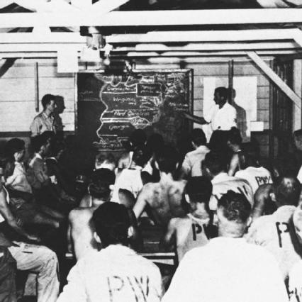German prisoners of war in a re-education class taught by an anti-Nazi prisoner of war.