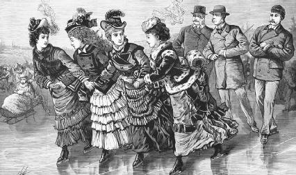 This 1875 print of ice skaters in Central Park, in which the women wear long skirts and skate separately from the men, illustrates the constrictive