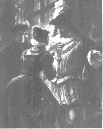 An engraving of Helena and Bertram