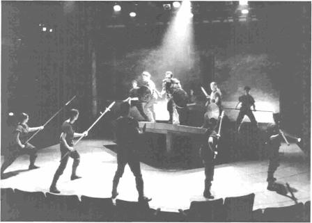 Battle scene in University of Washington theatre production (1998)