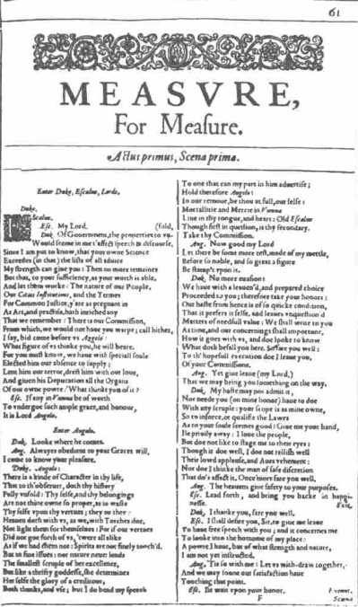 Title page of Measure for Measure taken from the First Folio (1623).