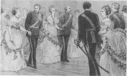 Couples dancing a quadrille at a nineteenth-century ball.