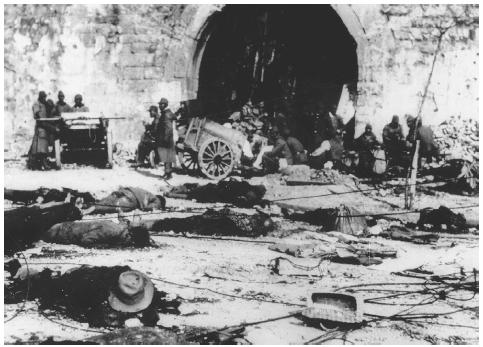 The violent and widespread destruction of Nanking, Chinaoften referred to as the Rape of Nankingollowed the citys capture on December 29, 1937, by forces of the Japanese Imperial Army. [AP/WIDE WORLD PHOTOS]