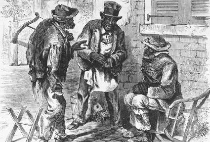 Three African American men discuss politics, as shown in the November 20, 1869, issue of Harpers Weekly. The Library of Congress.