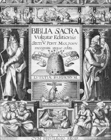 The title page of the Vulgate Bible. The Council of Trent agreed that this version of the Bible should be the official Bible of the Catholic Church. Reproduced by permission of Mary Evans Picture Library.
