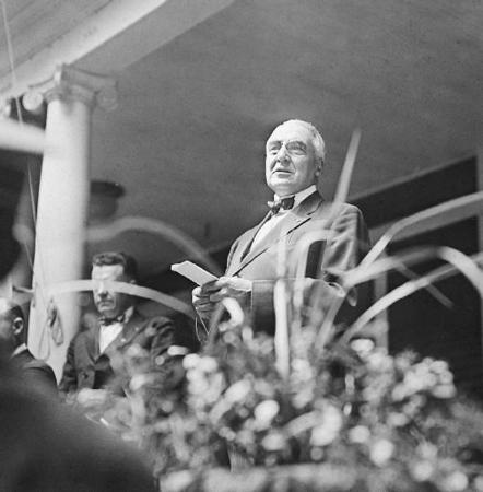 an analysis of warren hardings goals and speech return to normalcy Warren g harding was elected the 29th us president on his birthday, and served from 1921 to 1923 his term followed world war i and a campaign promising a return to normalcy.