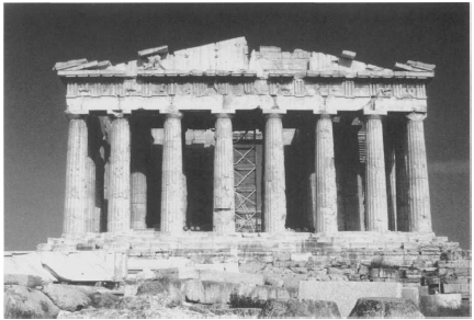 The ruins of the Parthenon in Athens, Greece. The Parthenon was a temple built by slaves to the goddess Athena. Photograph by Susan D. Rock. Reproduced by permission.