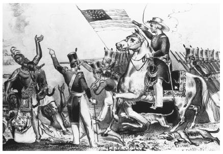 The Seminole people in Florida resisted removal from their land in a war that lasted from 1835 to 1842. This etching depicts Native Americans being hunted with bloodhounds during the Seminole Wars. (©Corbis. Reproduced by permission.)