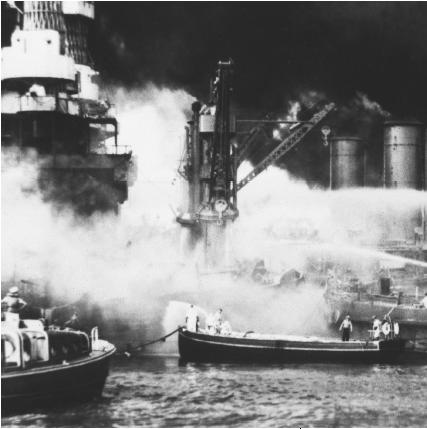 USS West Virginia in flames during the attack on Pearl Harbor. (Reproduced by permission of the National Archives and Records Administration)